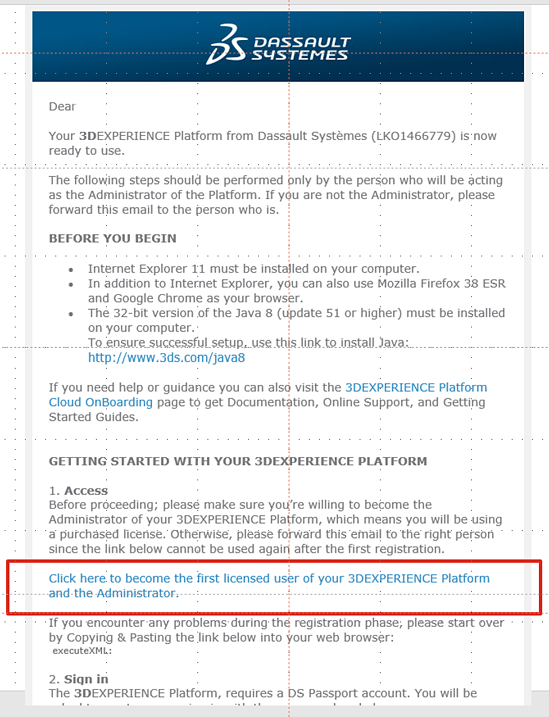 3DEXPERIENCE Invitation Email login
