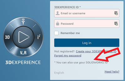 3DEXPERIENCE SOLIDWORKS ID login