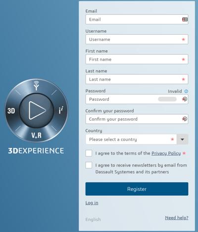 3DEXPERIENCE create account