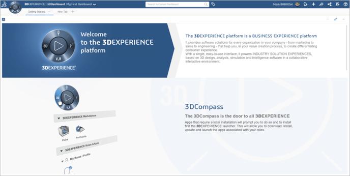 3DEXPERIENCE platforma Start page