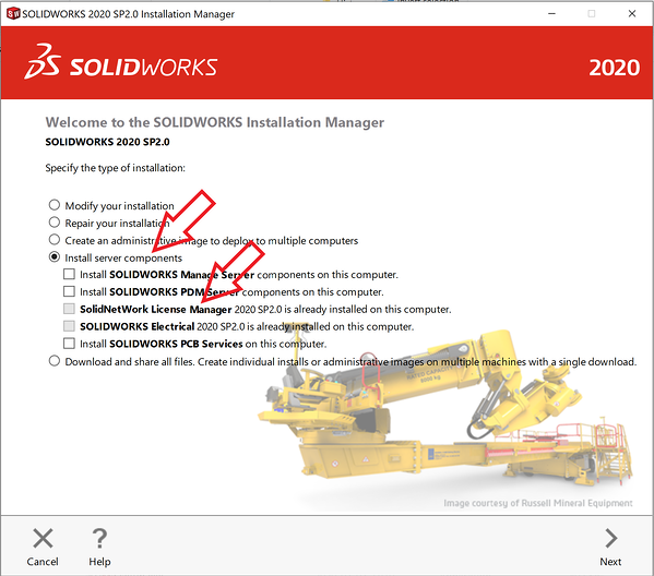 SOLIDWORKS Install select server components