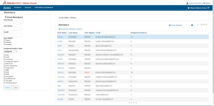MySolidWorks Admin Portal interface