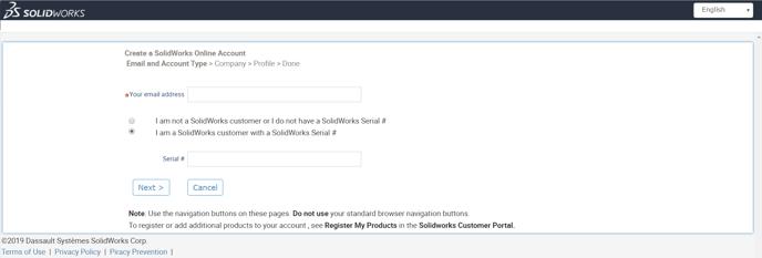 SOLIDWORKS Customer Portal registracijos zingsniai