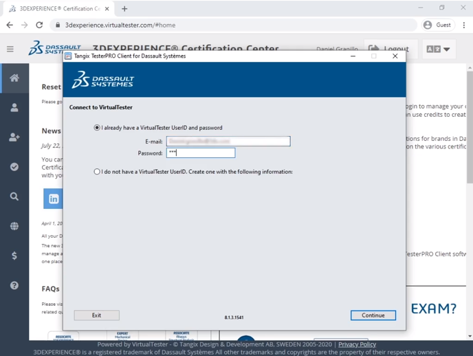 3DEXPERIENCE Certification Center TesterPRO login
