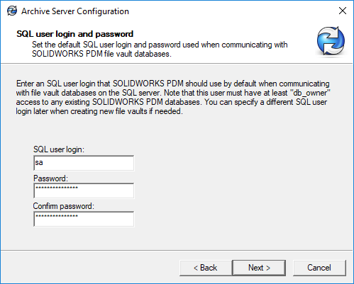 Archive Server Admin SQL password