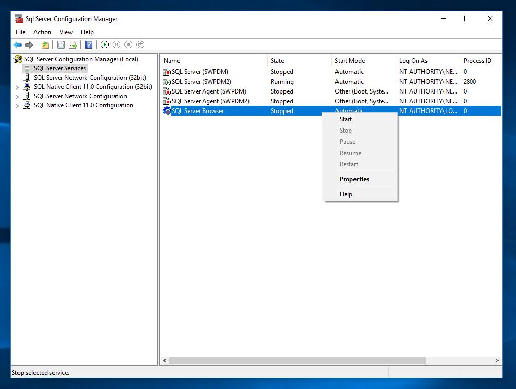 SQL Server Configuration Manager Start